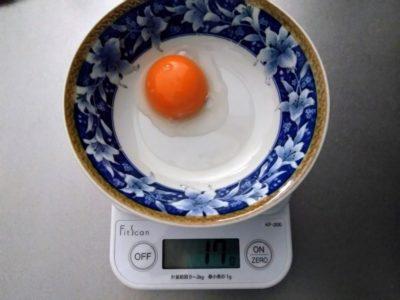 卵の黄身の重さ